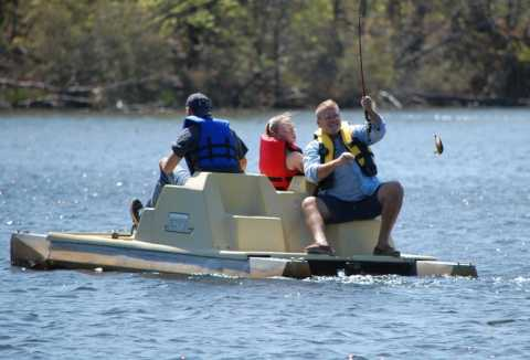 Helping physically challenged people participate in for Fishing pedal boat